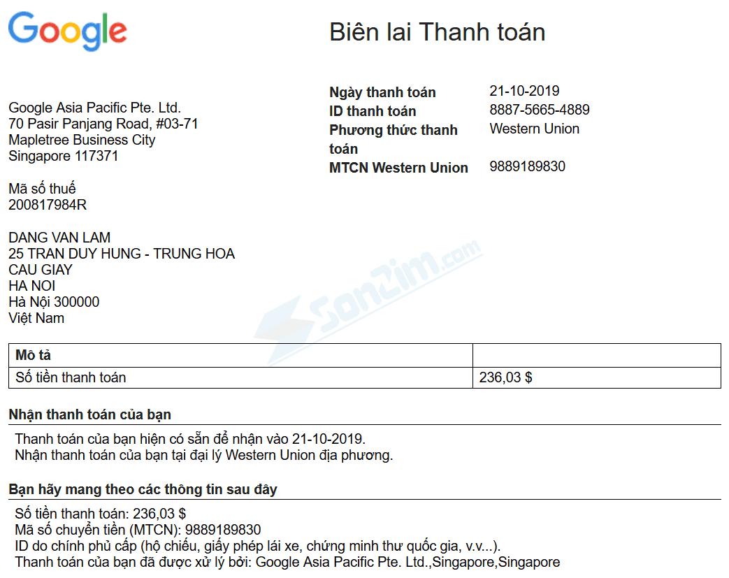 Biên lai thanh toán Western Union rút tiền từ Youtube