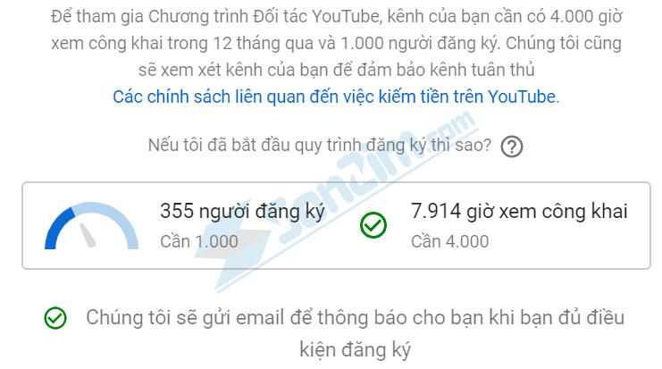 Ngưỡng điều kiện để được bật kiếm tiền trên Youtube