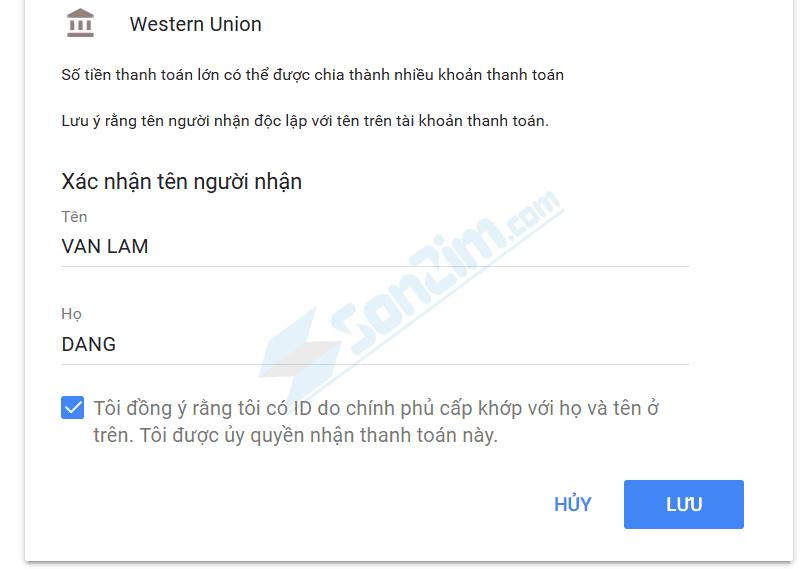 Thêm phương thức thanh toán Western Union trên Adsense