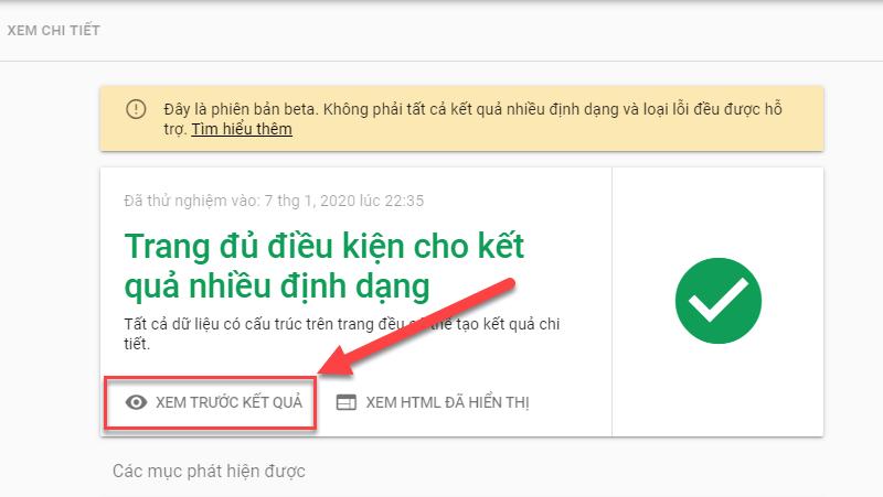 Kiểm tra Website hiển thị như thế nào khi có Schema