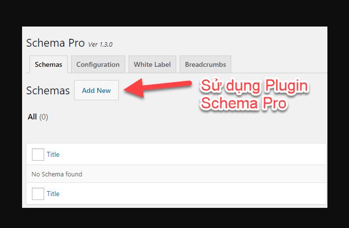 Sử dụng Plugin Schema Pro để thêm mã vào Website