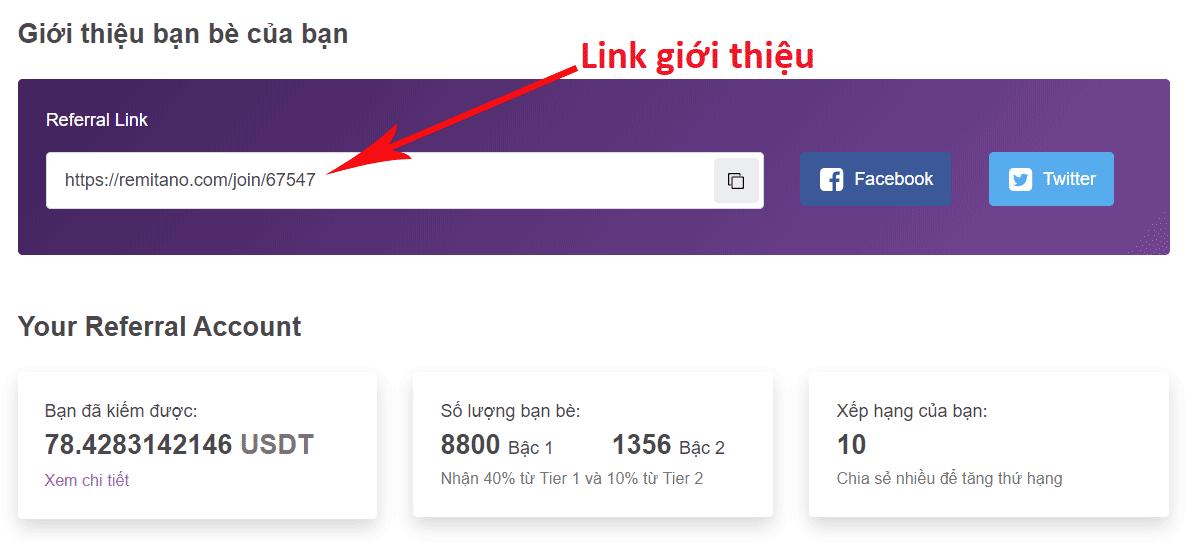 Link giới thiệu để kiếm tiền trên Remitano