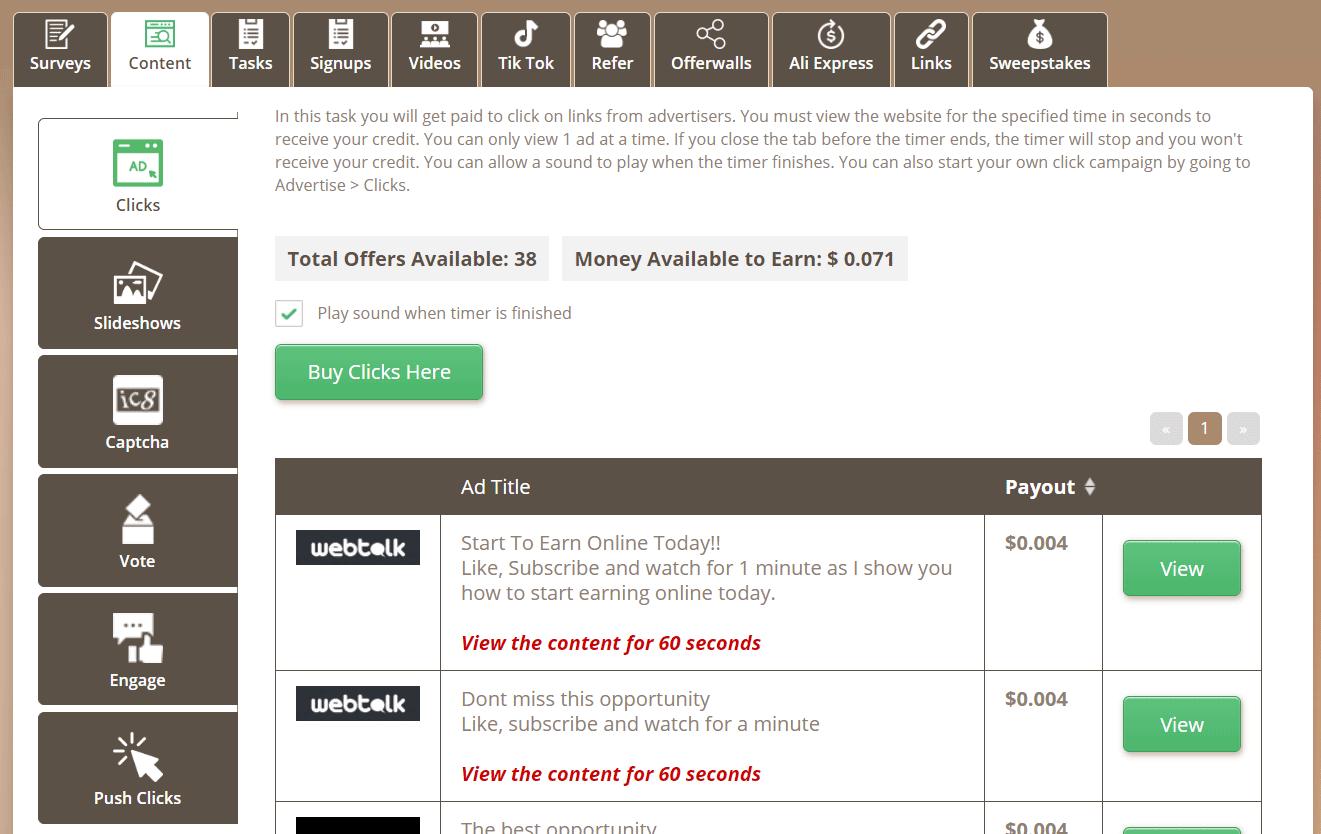 Cách kiếm tiền trên Timebucks từ xem nội dung
