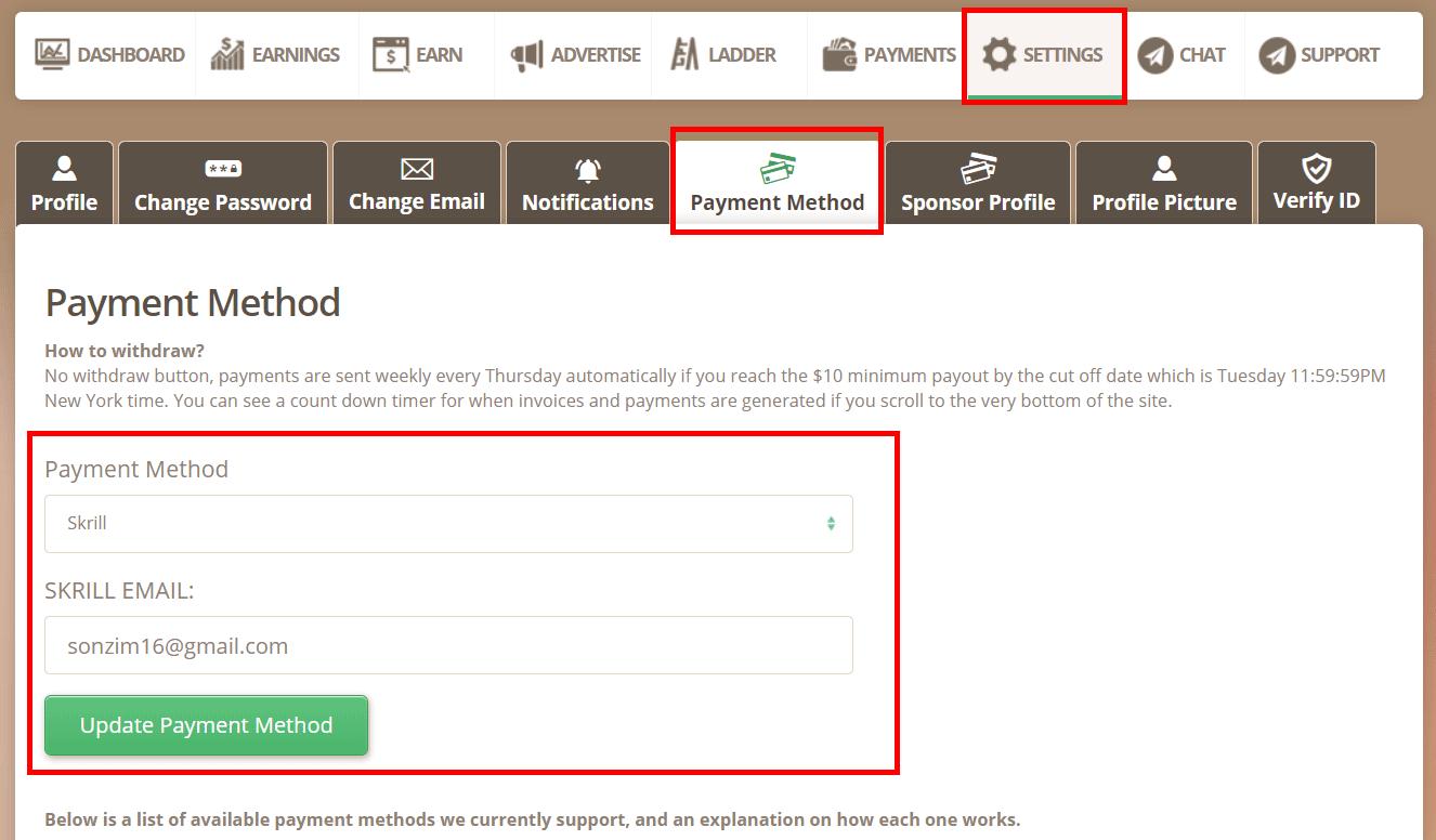 Cách rút tiền trên TimeBucks