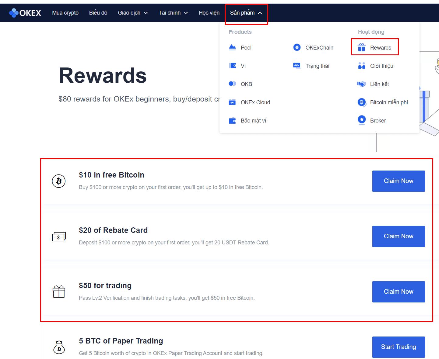 Nhận thưởng bitcoin miễn phí trên OKEx