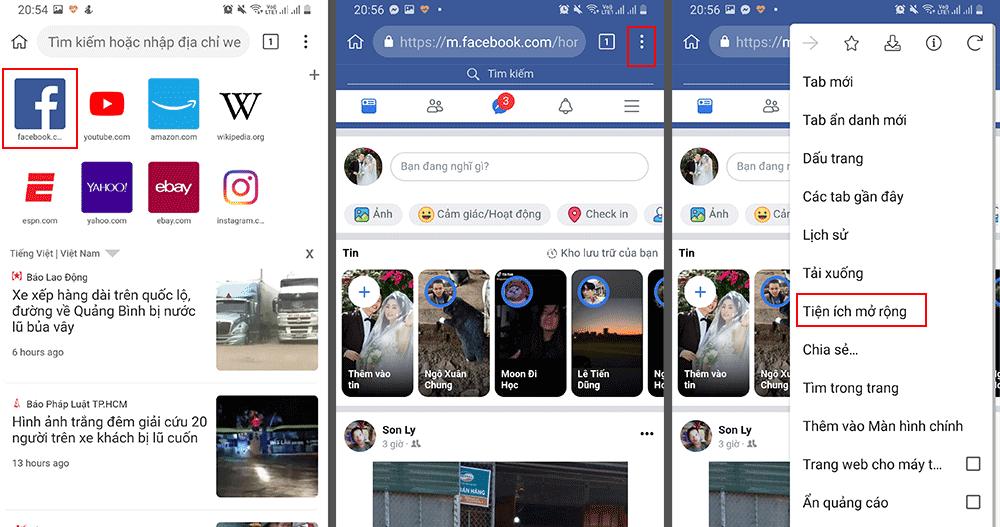 Cài tiện ích mở rộng trên trình duyệt Kiwi Browser