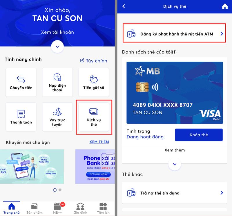 Cách mở thẻ ATM online